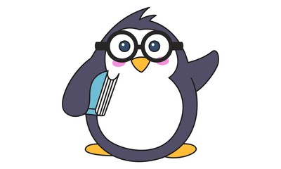 Vector cartoon illustration of cute penguin wearing glasses and holding book in hand. Isolated on white background.