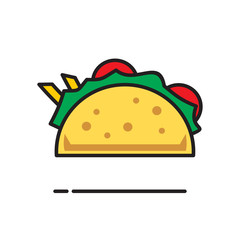 Taco icon on white background for graphic and web design, Modern simple vector sign. Internet concept. Trendy symbol for website design web button or mobile app