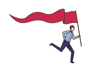 businessman running with flag avatar character