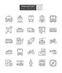 Transportation and vehicle icons. Simple set of transport related vector line icons. Transport outline icons