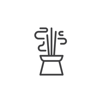 Burning aromatic incense sticks line icon. linear style sign for mobile concept and web design. Chinese Incense outline vector icon. Symbol, logo illustration. Pixel perfect vector graphics