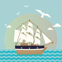 Sailboat illustration. Cartoon sea landscape vector