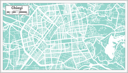 Chiayi Taiwan City Map in Retro Style. Outline Map.