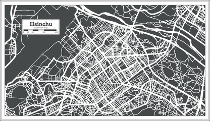 Hsinchu Taiwan City Map in Retro Style. Outline Map.