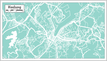 Keelung Taiwan City Map in Retro Style. Outline Map.