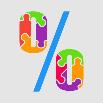 Vector puzzle pieces sign commerc percent. Jigsaw.
