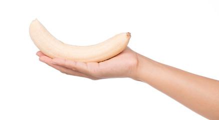 hand holding Banana. Ripe banana isolated on white background.