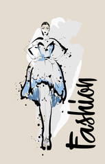 Fashion girl sketch. Fashion illustration. Drawing fashion model