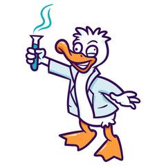 Cartoon Mad Scientist Duck