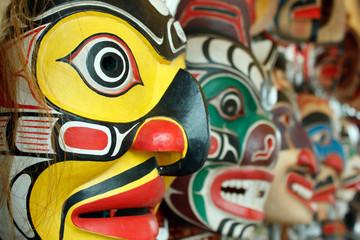 totem masks close up Wall mural