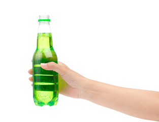 hand holding refreshing drinks in plastic bottle isolated on white background