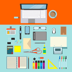 Writing desk with office tools and notebook . Vector. Flat design.