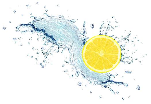 lemon slice water splash isolated on white