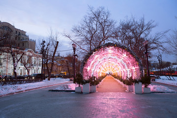 Moscow, Russia, new Year design of Tverskoy Boulevard. In the pedestrian zone of Tverskoy Boulevard there is a light installation in the form of a light tunnel.
