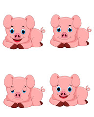 Set of cute pig cartoon characters isolated on white background