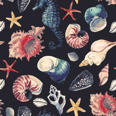Watercolor sea life pattern