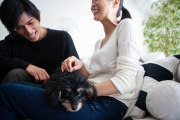 笑顔で楽しそうな飼い主をよそ目に膝の上でリラックスする子犬