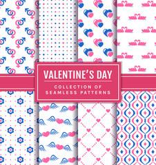 Valentine's Day seamless patterns set.