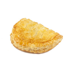 Fresh Homemade Chicken Puff Pastry. Bread and Bakery Products Isolated on White background