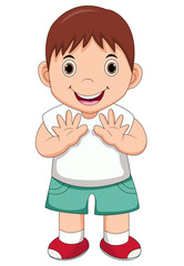 illustration of isolated cute boy waving hand on white background