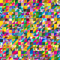 Colorful glitch art and geometric concept squares mosaic background.