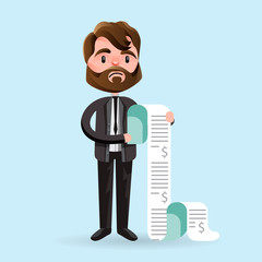 Cartoon man looking unhappy while holding long paper bills on blue background