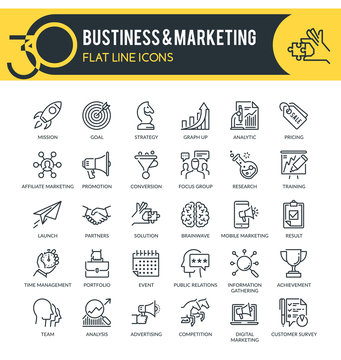 Business and Marketing Outline Icons