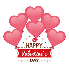 happy valentines day card with hearts balloons helium