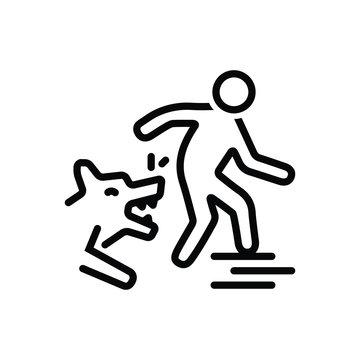 Black line icon for dog