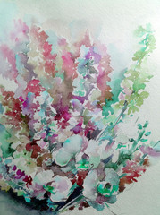 Abstract bright colored decorative background . Floral pattern handmade . Beautiful tender romantic bouquet of summer meadow flowers , made in the technique of watercolors from nature
