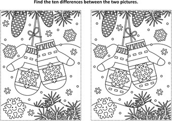 Winter, New Year or Christmas themed find the ten differences picture puzzle and coloring page with Santa's mittens.