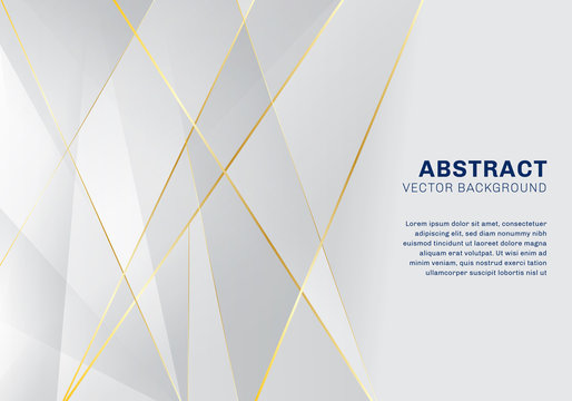 Abstract polygonal pattern luxury on white and gray background with golden lines.