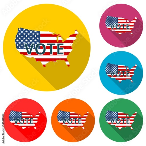 c643f37a277 Vote American flag concept icon or logo