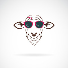 Vector of sheep wearing sunglasses on white background. Animal fashion. Easy editable layered vector illustration.