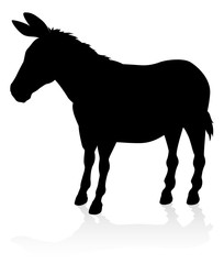 A detailed high quality donkey farm animal silhouette