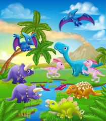 Foto auf Leinwand Dinosaurier A dinosaur cartoon cute animal background prehistoric landscape scene.