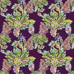Seamless pattern with abstract fantasy flowers and leaves Paisley and Butterfly or Damask jacobean style Watercolor Gouache