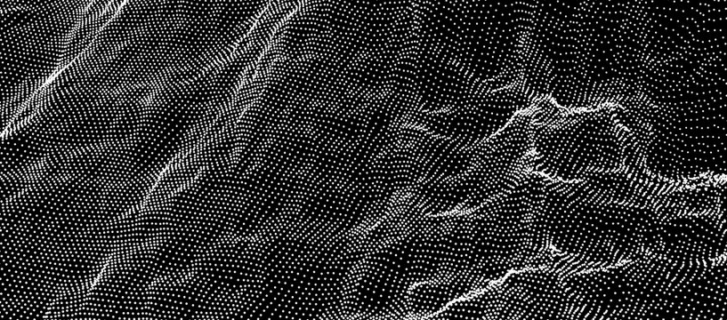 Array with Dynamic Particles. Futuristic technology style. Texture. Vector illustration with particle. 3D grid surface.