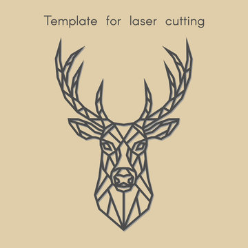 Template animal for laser cutting. Abstract geometric deer for cut. Stencil for decorative panel of wood, metal, paper. Vector illustration.