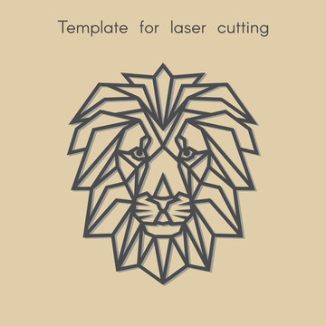 Template animal for laser cutting. Abstract geometric lion for cut. Stencil for decorative panel of wood, metal, paper. Vector illustration.