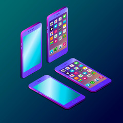 Colored futuristic smartphone in isometry vector illustration