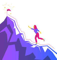vector image of the silhouette of a girl rises up to the goal, the desire to up, achieving the result