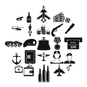 Militant icons set. Simple set of 25 militant vector icons for web isolated on white background