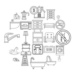 Comfortable house icons set. Outline set of 25 comfortable house vector icons for web isolated on white background
