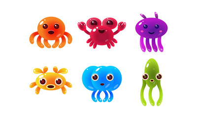 Collection of colorful glossy sea creatures, cute marine animal characters vector Illustration