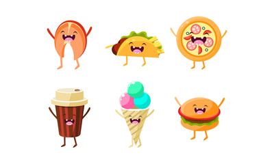 Funny fast food characters set, taco, pizza, coffee cup, ice cream, burger vector Illustration
