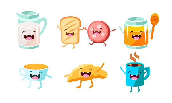 Cute food and drinks characters set, funny healthy breakfast, jug of milk, toast with sausage, honey, croissant, cup of tea vector Illustration