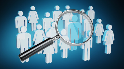Magnifying glass recruiting people illustration 3D rendering