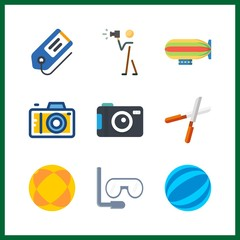 9 hobby icon. Vector illustration hobby set. pruners and photo camera icons for hobby works
