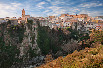 Laterza, Taranto, Puglia, Italy: landscape of the town over the canyon in the nature park Terra delle Gravine
